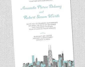 Chicago Cityscape Wedding Invitations Set - SAMPLE SET