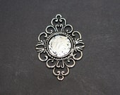 Silver Filigree Pendant Tray, Floral Pendant Tray 18mm, Pendant trays bezel blank, Photo Jewelry Supply 10 pcs