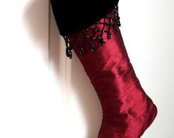 Red Silk Christmas Stocking - Edwardian/Victorian Stocking - Elegant