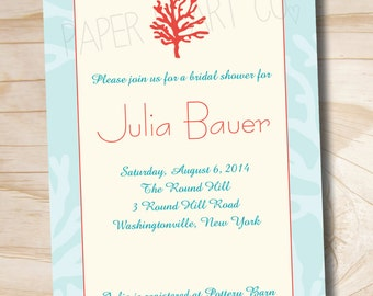 CORAL ELEGANCE Bridal Shower Invitation - Printable digital file or printed invitations