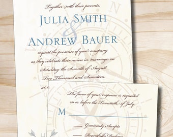 ANTIQUE COMPASS Wedding Invitation/Response Card printed sample set