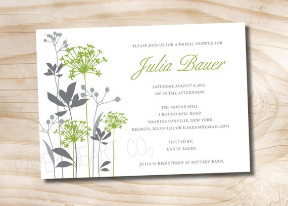 WILDFLOWER WHIMSY Bridal Shower/ Baby Shower Invitation - Printable digital file or printed invitations