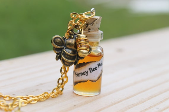 Organic Honey Bee Pot Glass 3ml Bottle Charm Necklace By: Tranquilityy