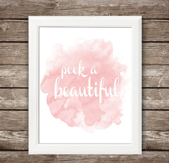 Peek a Beautiful! - Instant Download - Printable Nursery Art - 5x7 & 8x10