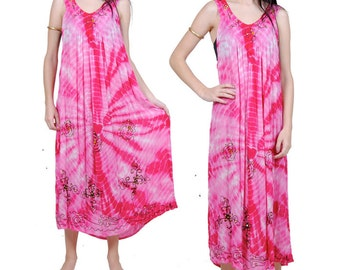 Tie Dye Maxi Dress - Bohemian Hippie Dress - Pink Festival Gauze Dress - One Size Fits Most