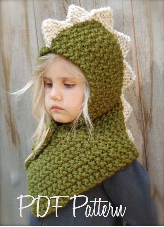 Knitted Cowl Pattern For Toddler : KNITTING PATTERN - Dalton Dino Cowl (6/9 month - 12/18 month - Toddler - Chil...