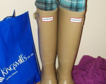 Fleece Rain Boot Liner, Turquoise, Blue and Brown Plaid Cuff , Wellingtons, Outdoor, Rustic, Rain Gear, Sm/Med 6-8 Boot