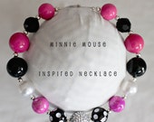 Minnie Mouse Necklace..Minnie Mouse Chunky Necklace..Minnie Mouse Bubblegum Necklace...Minnine Mouse..Pink Necklace..Black Necklace
