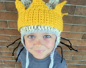 Kids or Adult Crochet Max Halloween Costume Hat and Crown - Accessories by Julian Bean