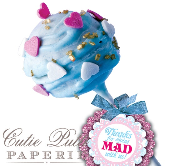 "Alice in Wonderland Party Favor Tags 2""x 2"" by Cutie Putti Paperie"
