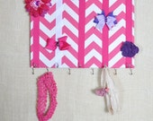 JEWELRY ORGANIZER, Jewelry Bow Board- Hair Bow Organizer- Pink and White Chevron- 11x14 inches, 11 Large Hooks