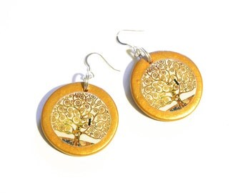 Tree of Life round earrings in gold polymer clay