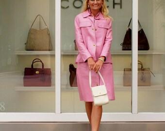 1960's Bonnie Cashin Designer Pink Leather 2 piece Suit