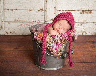 Chunky Basic Bonnet in Pink Rose Newborn Size- Photography Prop- Newborn Baby Bonnet- READY TO SHIP