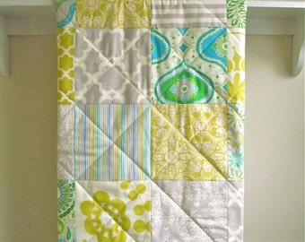 Baby Quilt, Modern, Gender Neutral, Crib Quilt, Citron, Grey, Blue, Green, Ivory, Nursery Bedding, Crib Bedding, Baby Blanket, Sunny Citron