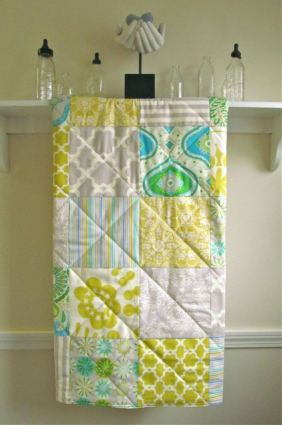 Baby Quilt Modern Gender Neutral Crib Quilt Citron Grey : gender neutral quilts - Adamdwight.com