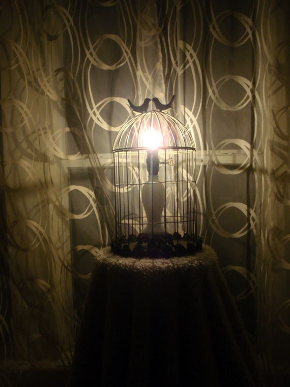 Anthropologie inspired bird cage table lamp with milk glass centerpiece and love birds