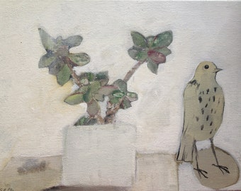 """Bird and the lucky plant - print 12"""" x 10"""""""