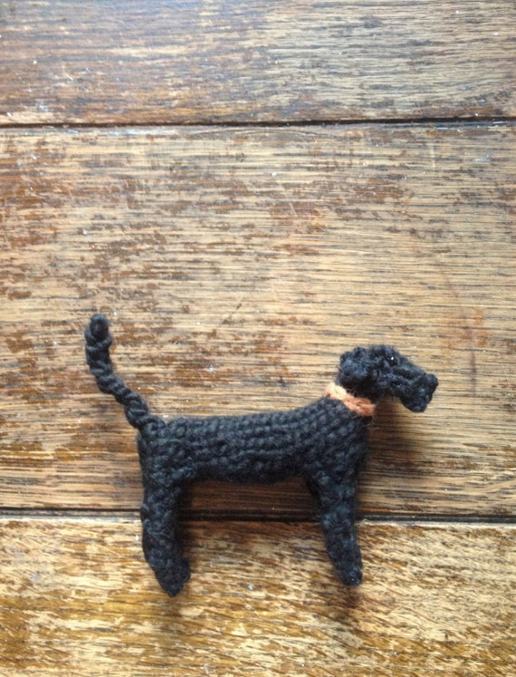 Black Bedlington/Lurcher Knitted dog