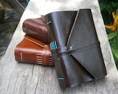 "Old Times Leather Journal / Handmade / 6x4"" /  Free Initials / Plain or Lined"
