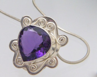 Large Amethyst Gemstone Pendant - Solid Sterling Silver Statement Necklace - February Birthstone - Made in the USA by Me - FREE SHIPPING