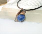 Copper necklace - artisan jewelry OOAK - blue brown enamel - boho rustic pendant by Alery