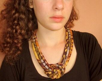 Batik and african wax  print brown knot bib necklace