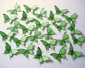 25 Green Elegant Butterfly scrapbook embellishments - No1004