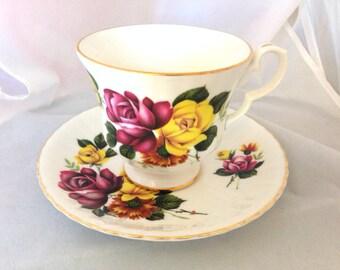 Royal Windsor English Fine Bone China Vintage Teacup & Saucer Set - Pink and Yellow Roses - maroon gold magenta burgundy green