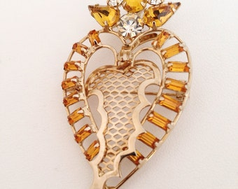 Amber Rhinestone Heart Crest Brooch - citrine yellow white gold rhinestones - gold toned metal - pendant - unique - unusual shield