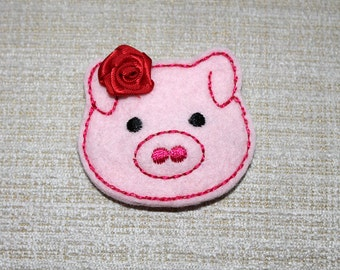 Pig wool clip for girls 100% Wool Felt covered snap hair clip