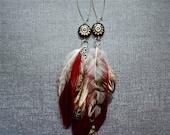Red Feather Earrings Steampunk Earrings Polymer Clay Steam punk Gears Jewelry Industrial Style Statement Jewelry