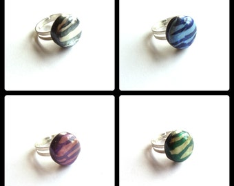 Friendship Ring Set, Jewel Tone Zebra Rings, Animal Print Fashion Jewelry, Polymer Clay Ring, Friendship Gift, Affordable Jewelry