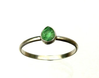 Tsavorite Stack Ring Natural Raw Crystal in Recycled Silver Green Garnet Stackable Ring