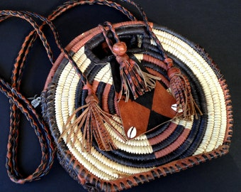 """South American or African Purse, Tote, Pouch / Leather and Twine / Vacation Souvenir / 8 """""""