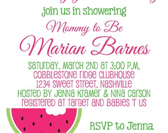 SWEET WATERMELON Baby Shower 5x7 Invitation - Girl DIY Printable