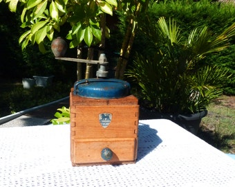 Vintage French Wood Coffee Grinder Peugeot Frères - Kitchen Decor - Collectible - Blue Shabby Chic