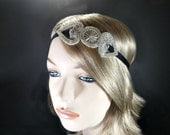 1920s Bridal Hairpiece, Great Gatsby Wedding Headpiece, Daisy Buchanan, Silver Headband, 20s Art Deco Beaded Headband, Black Headwrap