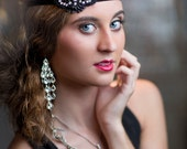 Black Rhinestone Headband, 1920's Headpiece, Flapper Great Gatsby Headpiece, Daisy Buchanan, Downtown Abbey, New Year's Holiday Headband
