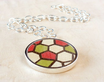 Bohemian jewelry, Round pendant, Wooden necklace, Modern necklace, Pendant necklace, Silver necklace, Jewelry women