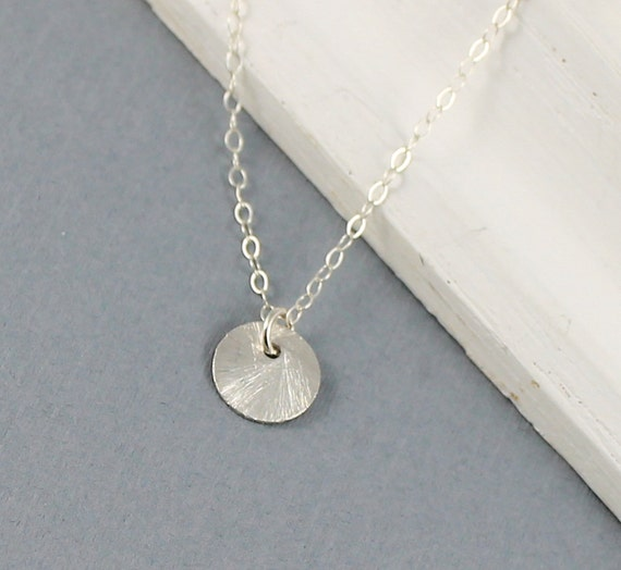 Tiny Sterling Silver Brushed Disc Necklace - Simple Everyday Minimal - Silver Dot Necklace