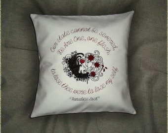 """Persephone & Hades decorative pillow cover """" My Love """" 16x16 inch embroidered true love ivory cotton cushion cover  Valentine's Day gift"""