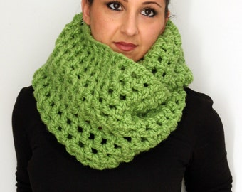 Sprite Lime Green Crochet Oversized Infinity Scarf, Winter Ski Accessories
