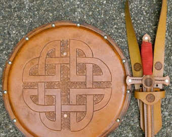 DAGGER Set - Dagger, Shield, & sword Belt w/ Celtic Knot Emblem - Handmade Leather