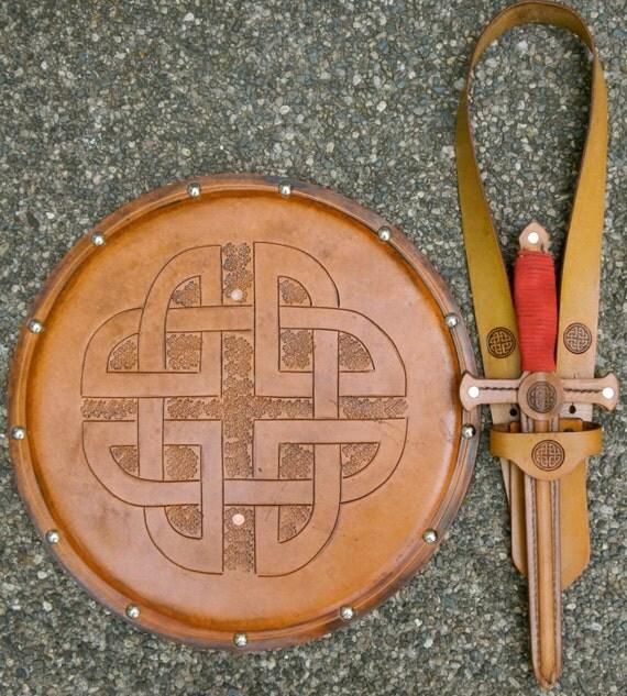 DAGGER Set - Dagger, Shield, & sword Belt w/ Celtic Knot Emblem - Handmade Leather