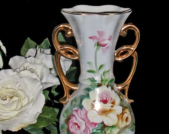 "Vintage Hand Painted Porcelain Vase With Pink and Yellow Roses 8 1/2"" High"