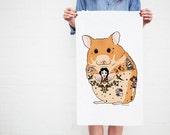 Hamster Pet Tea Towel (hamster birthday gift, tattoo hamster gift, cute hamster illustration design, tattoo lover gift, traditional tattoos)