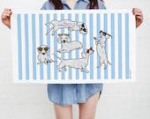 Dachshund Dog Tea Towel (dachshund birthday gift, sausage dog present, doxie gift idea, daschund gift, cute dog kitchen, summer kitchenware)