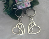 Gift Set 2 Infinite Love Key Chain Infinity Symbol and Open Heart  Charm KeyChain Eternal Love Friendship Couples Gift