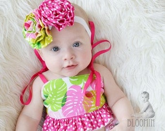 Pink and Green Leaf Fabric Flower Rosette Headband or Hair Clip for Baby, Toddler, Girls and Adults
